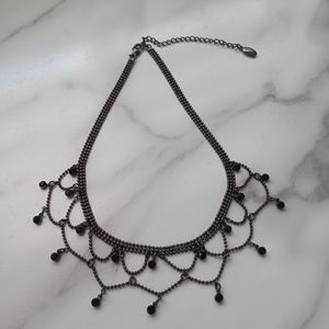 NWOT Guess Necklace Charcoal with Black Stones
